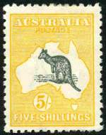 1915 5/- Deep Grey and Yellow 2nd Wmk Kangaroo MVLH and reasonably centered with few short perfs and centered to base.