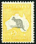 1929 5/- Grey and Yellow Small Multiple Wmk Kangaroo MVLH and centered to left.