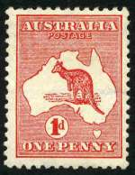 1913 1d Red Die I 1st Wmk Kangaroo with sideways watermark, crown pointing to left MLH and reasonably centered. Rare. ACSC 2ab.