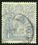 1922 4d Ultramarine Single Wmk KGV with thin
