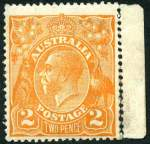 1920 2d Brown-Orange Single Wmk KGV marginal copy mint with hinge traces, showing marginal line and letters watermark and no trace of the Crown over A. Scarce. Refer ACSC footnote 2 on page 4/216. Catalogue Value $2,000.00. (Please note, the marginal selvedge has inadvertently been removed during viewing)