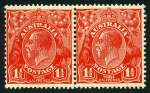 1927 1�d Red Small Multiple Wmk perf 13� KGV MUH pair, right unit with Type B re-entry, compartment line at left. ACSC 92(4)ia.