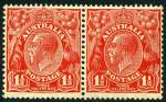 1927 1�d Red Small Multiple Wmk perf 13� KGV MUH pair, left unit with Type B re-entry, duplication of shading behind kangaroo. ACSC 92(4)ea.