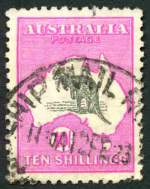 1917 10/- Grey and Deep Aniline Pink 3rd Wmk Kangaroo GU and well centered with bent lower right corner.