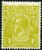 1924 4d Olive Small Multiple Wmk KGV with Kangaroo's tongue out variety MUH and centered to base. ACSC 114(4)e.