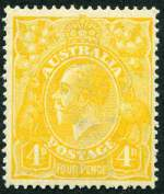 1919-21 4d Yellow-Orange Single Wmk KGV MUH and centered to right.