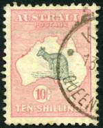1913 10/- Grey and Pink 1st Wmk Kangaroo GU and centered high with bent top right corner perf.