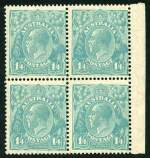1928 1/4 Greenish Blue Small Multiple Wmk perf 13� KGV marginal block of 4 centered to right, lightly hinged on top right unit and remaining units MUH. Right units with vertical crease.