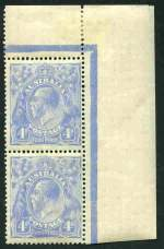 1922 4d Dull Ultramarine Single Wmk KGV top right corner pair with Thin
