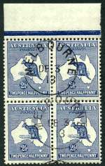 1913 2½d Indigo 1st Wmk Kangaroo top marginal block of 4 with Melbourne CTO postmark with gum. Lower left unit with faint crease. ACSC 9w.