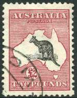 1913 £2 Grey and Rose 1st Wmk Kangaroo FU and centered to right. Lovely fresh colour.
