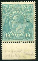 1920 1/4 Turquoise-Blue Single Wmk KGV lower marginal copy with Thick