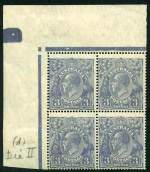 1926 3d Blue Small Multiple Wmk perf 14 KGV top left corner block of 4 lightly hinged top right unit and remaining units MUH. Lower right unit Type B. Centered to lower left and hinged on selvedge.