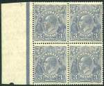 1926 3d Blue Type A Small Multiple Wmk perf 14 KGV marginal block of 4 MLH and reasonably centered. Top right unit with Retouched upper frame at left variety. ACSC 106m.