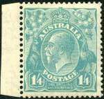 1928 1/4 Greenish Blue Small Multiple Wmk perf 13� KGV MLH and centered to left.