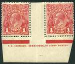 1918 1d Carmine-Red Single Wmk KGV Harrison one line imprint pair with