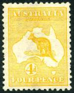 1913 4d Yellow-Orange 1st Wmk Kangaroo MLH and reasonably centered with expertisation mark on reverse. Few short perfs. Scarce. ACSC 15c.