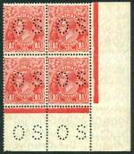 1927 1�d Red Small Multiple Wmk perf 13� KGV perforated OS lower right corner block of 4 MUH. Lower right unit with unlisted variety scalloped upper frame at right.