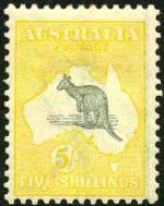 1918 5/- Grey and Yellow 3rd Wmk Kangaroo MLH and centered to base.