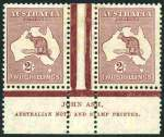1929 2/- Maroon Small Multiple Wmk Kangaroo Ash N over N imprint pair mint hinged and reasonably centered.