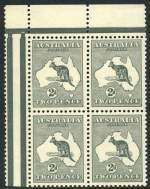 1915 2d Grey Die I 3rd Wmk Kangaroo MUH top left corner block of 4 from gutter. Upper units centered high and lower units well centered.