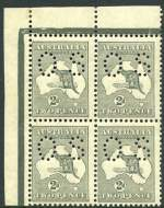1915 2d Grey Die I 3rd Wmk Kangaroo perforated OS top left corner block of 4 MUH and centered to lower left. Retail $400.00.