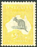 1918 5/- Grey and Yellow 3rd Wmk Kangaroo MVLH and reasonably centered with unlisted variation of Broken coast in Bight variety.