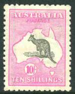 1917 10/- Grey and Deep Aniline Pink 3rd Wmk Kangaroo MVLH and exceptionally well centered. Few nibbled perfs at base hardly detract.