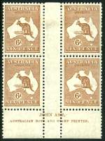 1929 6d Chestnut Small Multiple Wmk Kangaroo Ash imprint block of 4 lightly hinged on top units and lower units MUH. Top left unit with White hairline from value circle to map variety and toned perf, the top right unit with few short perfs. Reasonably centered with some perf separation. ACSC 22z.