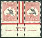 1934 £2 Grey and Rose-Crimson C of A Wmk Kangaroo Ash imprint pair MLH and attractively centered. Right unit with Open-mouthed kangaroo variety. ACSC za.