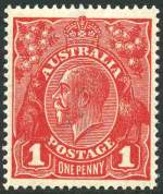 1918 1d Red Die III Single Wmk KGV MVLH and well centered.