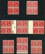 1914-18 1d Red Single Wmk KGV selection of 8 distinctive shades in MUH blocks of 4 including Deep Scarlet, Scarlet, Rose-Carmine and Deep Red (Aniline). Centering varies.