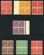 1915-24 �d Orange, 1d Deep Red (Aniline), 1d Deep Violet, 1�d Brown, 1�d Green and 1�d Scarlet Single Wmk KGV and 1913 1d Red Engraved KGV in MUH blocks of 4.