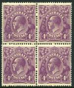1921 4d Violet Single Wmk KGV block of 4 MUH and centered to right. Lower right unit with unlisted variety White flaw on