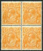 1915 4d Orange Single Wmk KGV block of 4 MUH and well centered. Right units with minor faults.