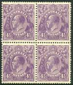1928 4�d Violet Small Multiple Wmk perf 13� KGV block of 4 MUH and centered slightly to left.
