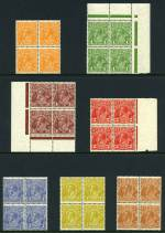 1931-36 C of A Wmk KGV set to 5d value in MUH blocks of 4. Centering varies.