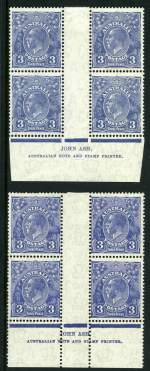 1932 3d Blue C of A Wmk KGV upper and lower Ash imprint blocks of 4 MUH. Upper plate with few short perfs on top left unit and both lightly hinged in selvedge. ACSC 109z and za.