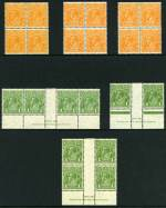 1931-36 �d Orange block of 4 (3), 1d Green Ash imprint pair, imprint strip of 4 and imprint blocks of 4 (3) and 1�d Red-Brown imprint pair and imprint blocks of 4 (2) C of A Wmk KGV MUH. Two 1d Green imprint blocks lightly hinged on top units. Centering varies. (40 stamps).