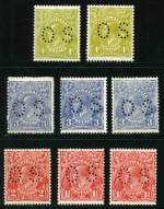1926-30 �d Orange imprint block of 4 with Lower end of left fraction bar thickened variety, plus 3 singles, 1d Green (2), 1�d Scarlet (2), 1�d Red-Brown block of 4, 2d Scarlet Die II, 3d Blue Die 1a (MUH) and Die II (2) and 4d Olive (2) Small Multiple Wmk perf 13� KGV perforated OS mixed MUH and MLH. Centering varies. (21 stamps).