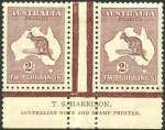 1929 2/- Maroon 3rd Wmk Kangaroo Harrison imprint pair MLH and exceptionally well centered. Superb.