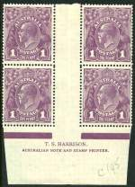 1922 1d Violet Single Wmk Harrison imprint block of 4 with