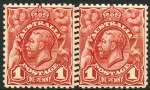 1913 1d Red Engraved KGV with Double perforation between horizontal pair MUH. ACSC 59bi.