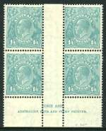 1932 1/4 Blue C of A Wmk KGV imprint block of 4 MUH. Lightly hinged on selvedge. ACSC 131z.
