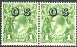 1932 1d Green C of A Wmk KGV O/P OS pair with Dry ink MLH. ACSC 82(OS)ca.