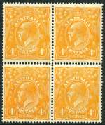 1915 4d Orange Single Wmk KGV well centered block of 4 lightly hinged on 2 units and 2 units MUH.