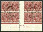 1930 1�d Red-Brown Small Multiple Wmk perf 13� KGV perforated OS [N over A] imprint block of 8 FU with full gum and 2 clear Adelaide S.A. CDS postmarks. Scarce perforated OS imprint block. ACSC 93zc.