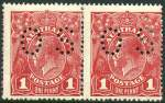 1918 1d Carmine-Red Die I and II Rough Paper Single Wmk KGV pair perforated OS MLH and centered to right. ACSC 72(1)fc.