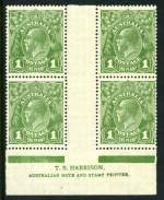 1924 1d Green Single Wmk KGV Harrison imprint block of 4 with