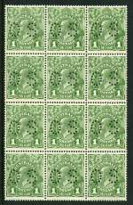 1924 1d Green Single Wmk KGV perforated OS block of 12 [3 x 4] lightly hinged on 2 top units and remaining units MUH. One lower unit with Dot before right